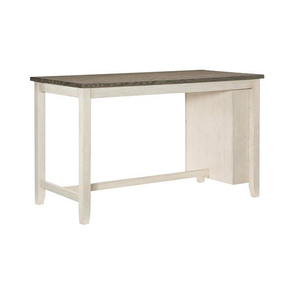 Table de comptoir rectangulaire fixe en bois plaqué Timbre, blanc antique et brun rosé, par HomeTrend