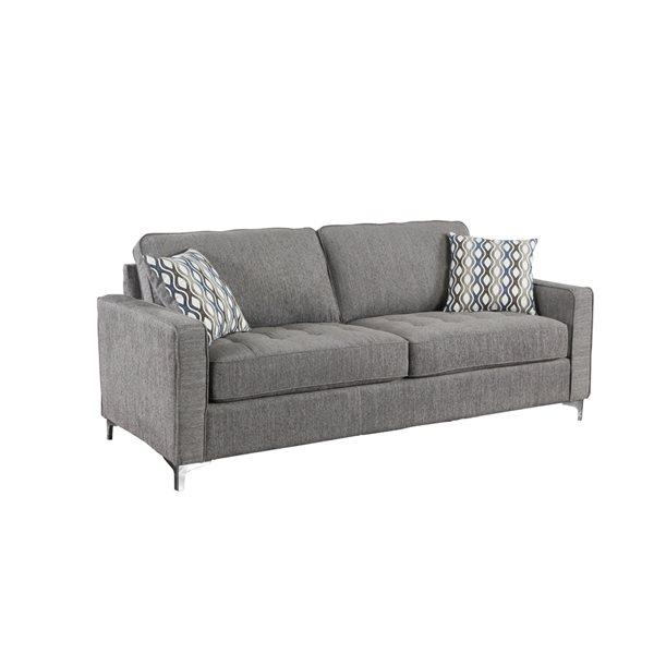 HomeTrend Hudson Modern Graphite Grey Polyester Sofa