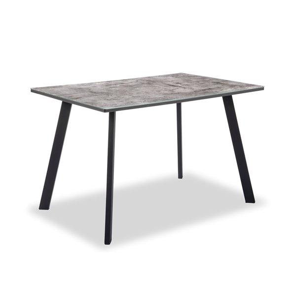 Table standard rectangulaire fixe en verre Lisbon, gris granit, avec structure en granit enduite de poudre noire, par HomeTrend