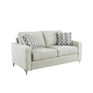Causeuse Hudson moderne en polyester gris platine, par HomeTrend