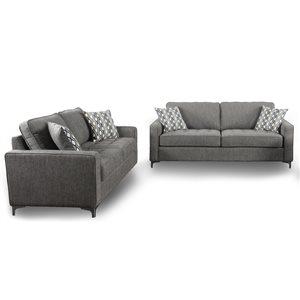 Ensemble de salon 2 pièces Hudson gris graphite, par HomeTrend