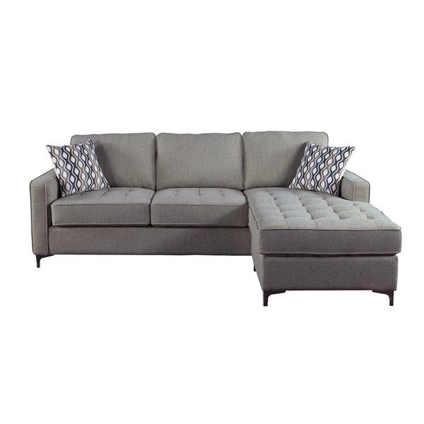 HomeTrend Hudson Modern Graphite Grey Polyester Sectional