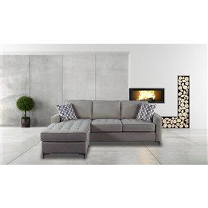 Sectionnel Hudson moderne en polyester gris graphite, par HomeTrend
