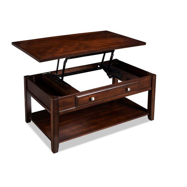 Table basse Henderson en bois plaqué avec incrustation de chevrons, par HomeTrend