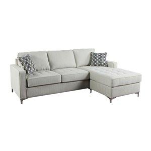 Sectionnel Hudson moderne en polyester gris platine, par HomeTrend