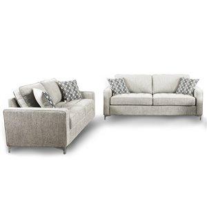 HomeTrend Hudson Platinum Grey Living Room Set (2-Piece)