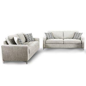 Ensemble de salon 2 pièces Hudson gris platine, par HomeTrend