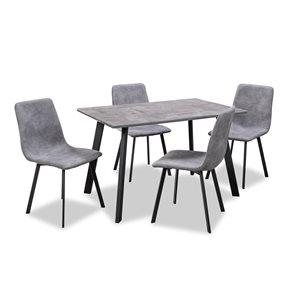 Ensemble de salle à manger gris Lisbon avec table rectangulaire, par HomeTrend