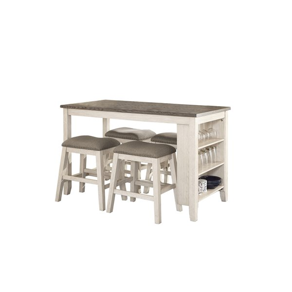 HomeTrend Timbre Antique White Dining Room Set With Rectangular Table