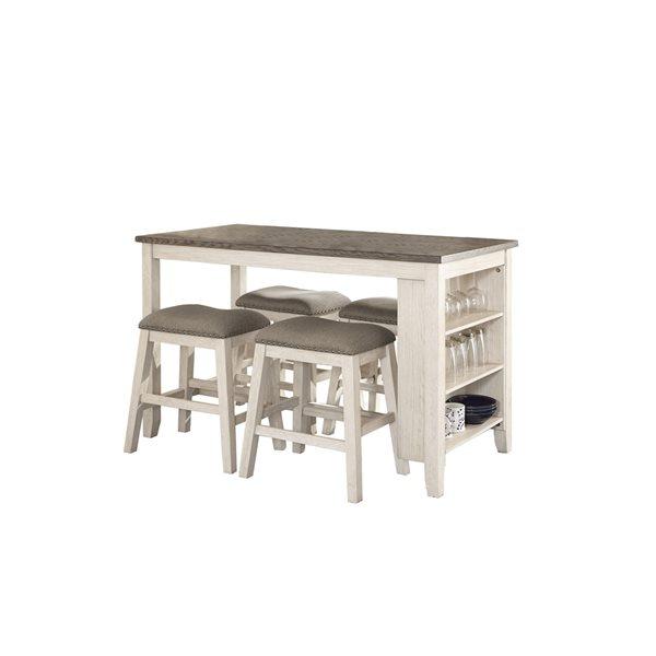 Ensemble de salle à manger blanc antique Timbre avec table rectangulaire, par HomeTrend