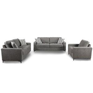 HomeTrend Hudson Graphite Grey Living Room Set (3-Piece)