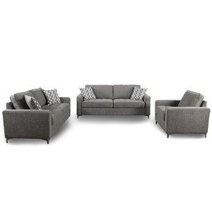 Ensemble de salon 3 pièces Hudson gris graphite, par HomeTrend
