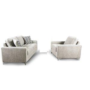 Ensemble de salon 2 pièces gris platine Hudson, par HomeTrend