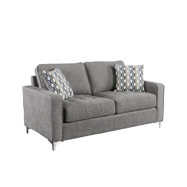 Causeuse Hudson moderne en polyester gris graphite, par HomeTrend