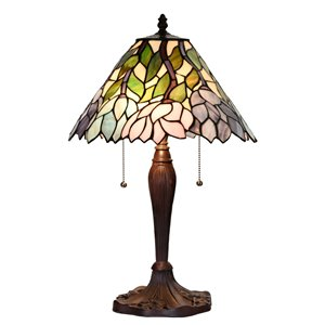Fine Art Lighting 21.6-in Bronze LED Pull-Chain Table Lamp with Tiffany-Style Shade