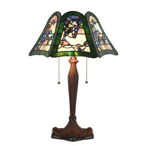 Fine Art Lighting 22.4-in Bronze LED Pull-Chain Table Lamp with Tiffany-Style Shade