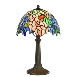 Fine Art Lighting 16.5-in Bronze LED In-line Table Lamp with Tiffany-Style Shade