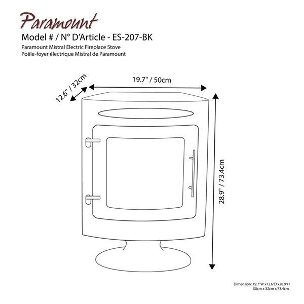 Foyer électrique à air forcé de Paramount, 19,7 po, noir