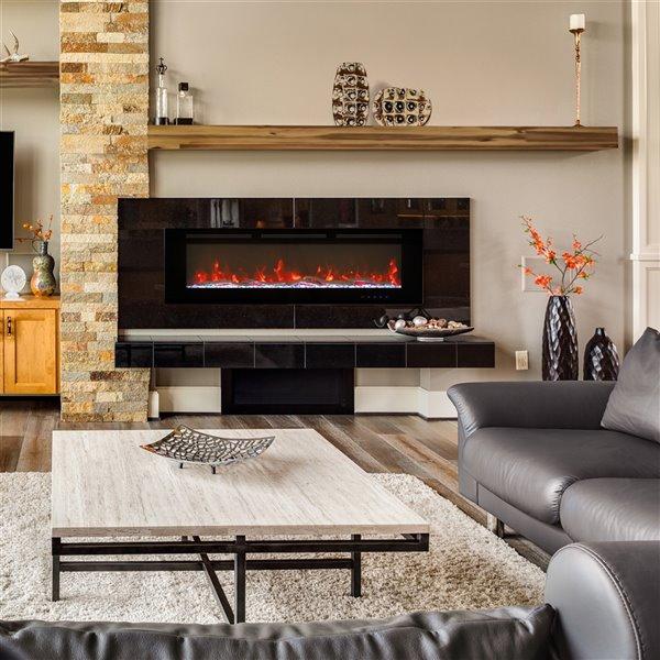 Tablette de cheminée contemporaine en bois naturel par Elements, 60 po x 4,72 po x 7,87 po