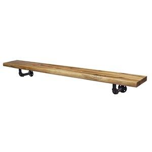 Tablette de cheminée industrielle en bois naturel par Elements, 45 po x 4,72 po x 6,29 po