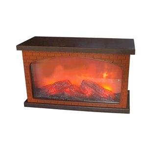 IH Casa Decor Plastic Brick Fireplace with USB LED Logs on Fire