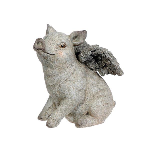 Figurine de jardin en polyrésine en forme de cochon assis avec des ailes de IH Casa Decor (11,8 po x 8,5 po)