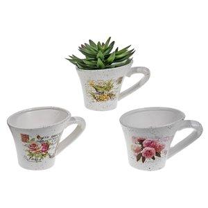 IH Casa Decor Set of 6 Ceramic Slanted Planters with Handle