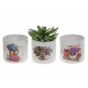 IH Casa Decor Floral Ceramic Round Planter (Set of 6)