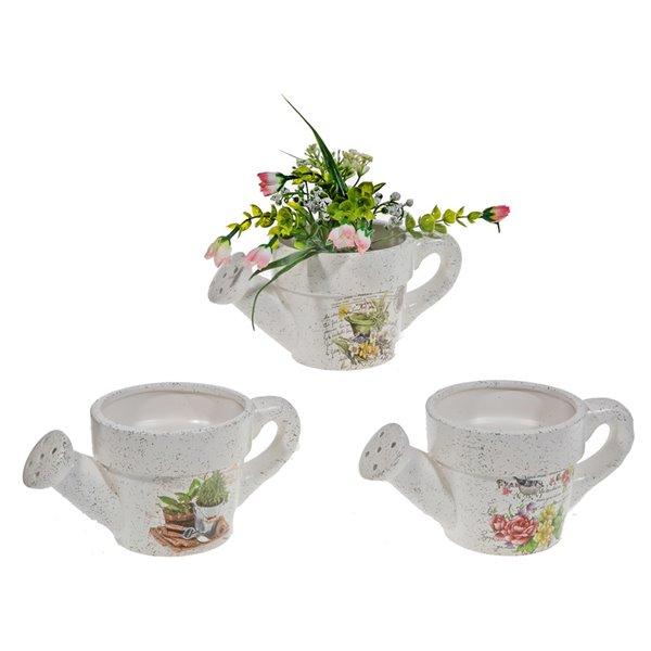 Jardinières arrosoir en céramique à motif floral par IH Casa Decor, lot de 6