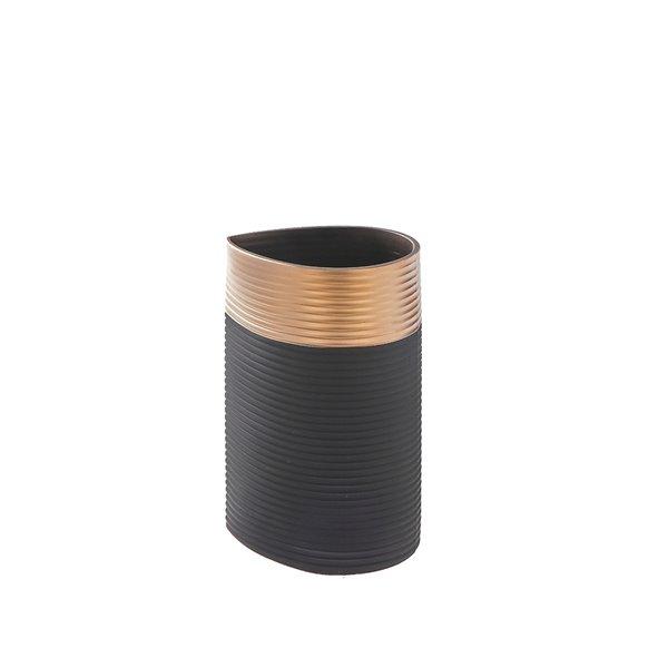 Vase en verre noir avec bordure dorée 5,1 po x 8 po de IH Casa Decor