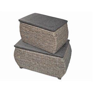 IH Casadecor Modern Grey Storage Ottoman Bench (Set of 2)