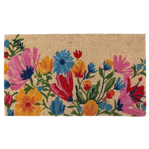 Tapis d'entrée pour l'intérieur rectangulaire avec jardin de fleurs, 30 po x 18 po, par IH Casa Decor