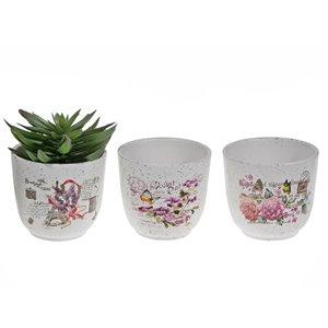 IH Casa Decor Floral Ceramic Curvy Round Planter - Set of 6