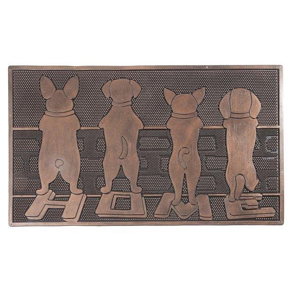 Tapis d'entrée pour l'intérieur rectangulaire brun avec chiens, 30 po x 18 po, par IH Casa Decor