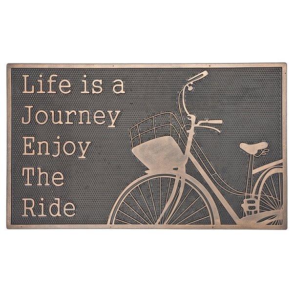 Tapis d'entrée pour l'intérieur rectangulaire noir écrit Life is A Journey, 30 po x 18 po, par IH Casa Decor