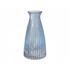 Vase à goulot en verre bleu clair 5 po x 10 po IH Casa Decor