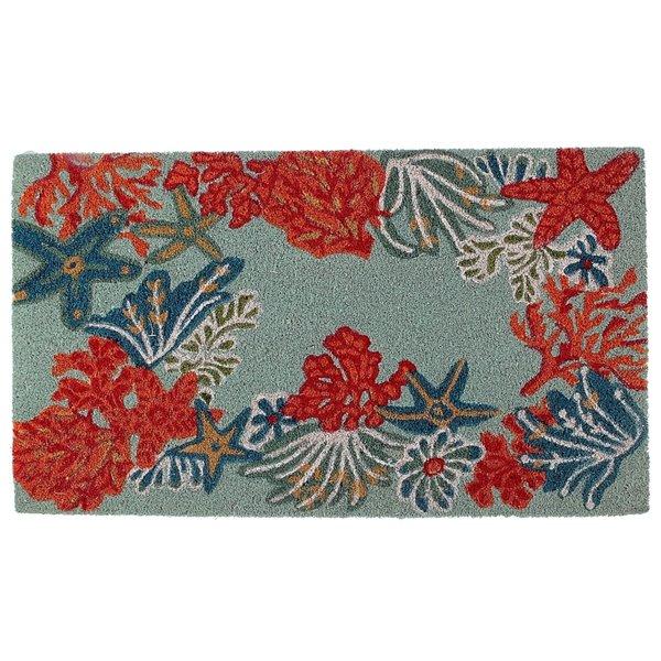 Tapis d'entrée pour l'intérieur rectangulaire avec des coraux multicolores, 30 po x 18 po, par IH Casa Decor