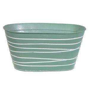 IH Casa Decor Mint Green Metal Oval Planter