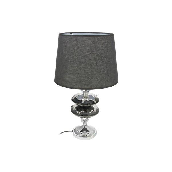 Lampe de table en céramique noire avec abat-jour, 5 po, interrupteur marche/arrêt de IH Casa Decor