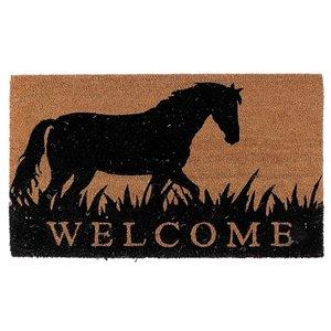 IH Casa Decor 30-in W x 18-in L Brown Horse Welcome Rectangular Indoor Door mat