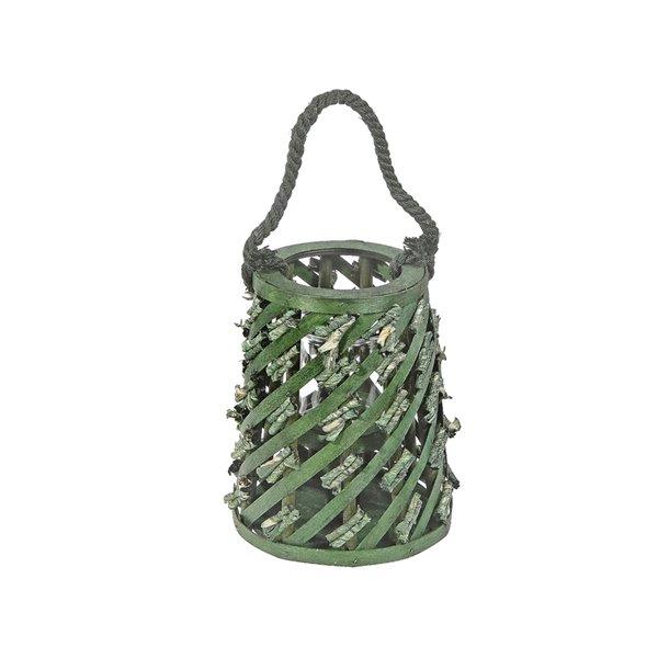 Lanterne cylindrique par IH Casa Decor, en osier vert