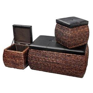 IH Casadecor Modern Brown Storage Ottoman Bench (Set of 3)