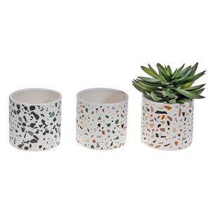 IH Casa Decor Terrazzo Ceramic Round Planter - Set of 6
