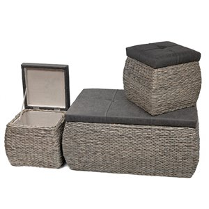 IH Casadecor Modern Grey Storage Ottoman Bench (Set of 3)