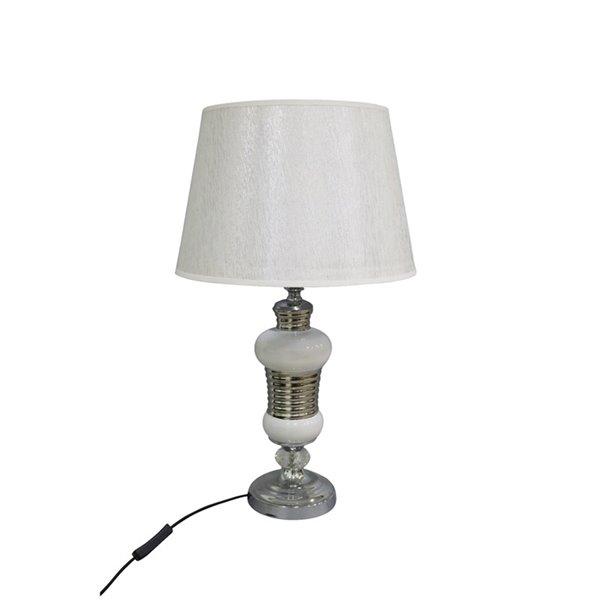 Lampe de table Oblong avec abat-jour blanc, 5 po, interrupteur marche/arrêt de IH Casa Decor