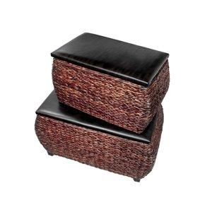 IH Casadecor Modern Brown Storage Ottoman Bench (Set of 2)