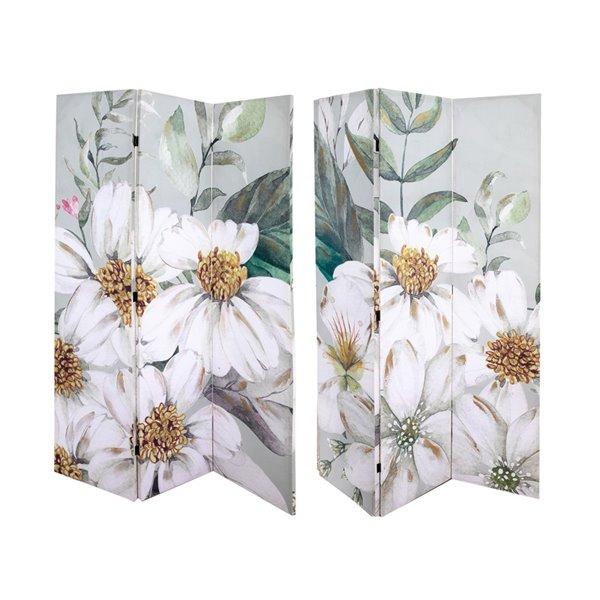Paravent pliant en bambou blanc et gris à 3 panneaux par IH Casa Decor de style contemporain/moderne