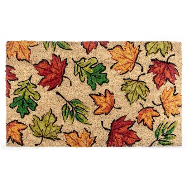 Tapis d'entrée rectangulaire pour l'intérieur avec dessin de feuilles d'automne, 30 po x 18 po, par IH Casa Decor