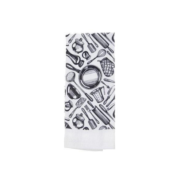 Ensemble de 4 serviettes de main avec motifs noirs et blancs par IH Casa Decor