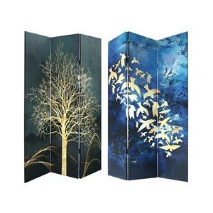 IH Casa Decor 3-Panel Dark Blue Bamboo Folding Contemporary/Modern Style Room Divider